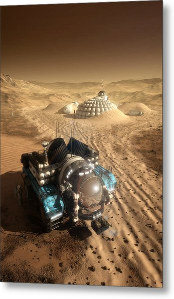 Metal Print featuring the digital art Mars Exploration Vehicle by Bryan Versteeg