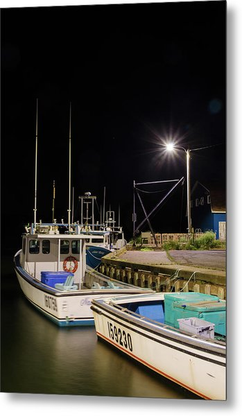 Metal Print featuring the photograph Nightime On The Wharf. by Rob Huntley