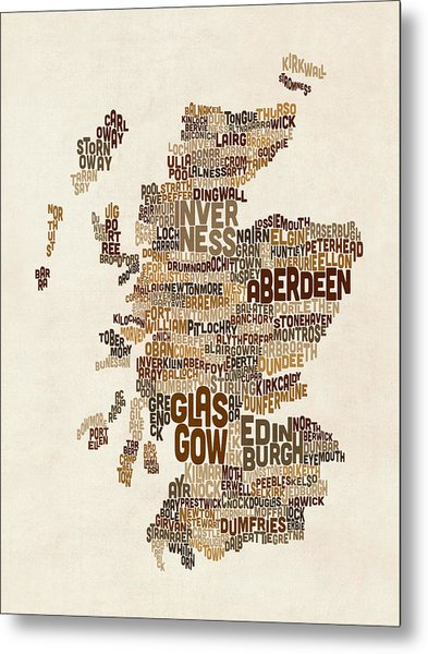 Scotland Typography Text Map Metal Print