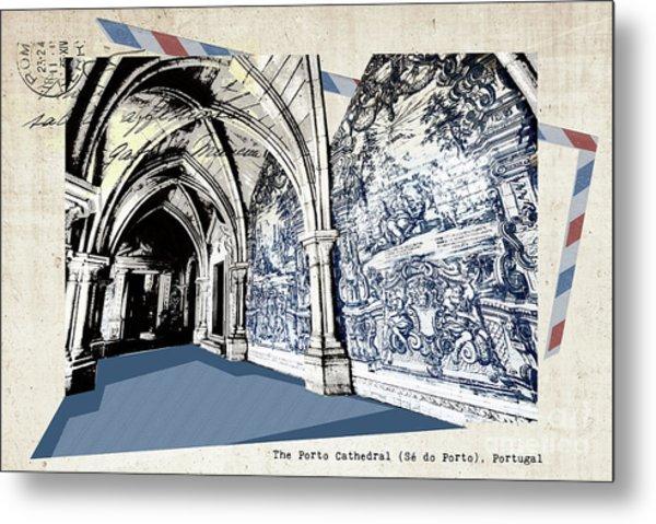 stylish retro postcard of Porto Metal Print