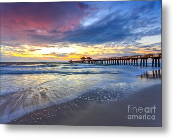 Sunset Naples Pier, Florida Metal Print
