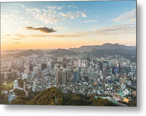Sunset Over Seoul Metal Print