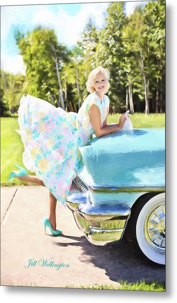 Vintage Val In The Turquoise Vintage Car Metal Print