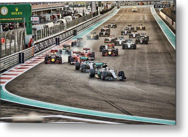 Formula 1 Racing Cars Metal Print