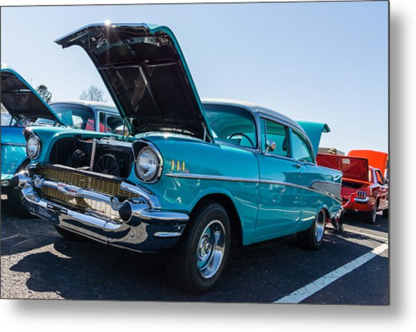 Metal Print featuring the photograph 57 Chevy - Ehhs Car Show by Michael Sussman