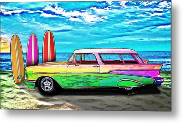 57 Chevy Nomad Wagon Best Part Of Waking Up Metal Print