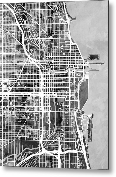 Chicago City Street Map Metal Print