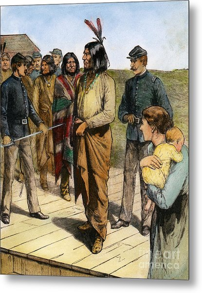 Geronimo 1829-1909.  To License For Professional Use Visit Granger.com Metal Print