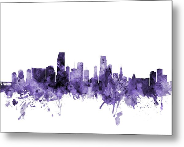 Miami Florida Skyline Metal Print