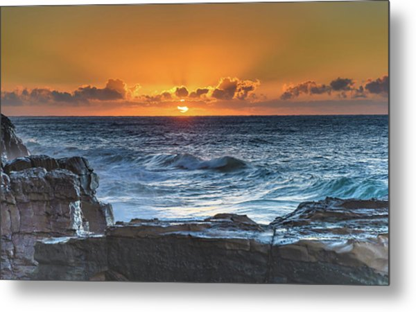 Sunrise Seascape With Sun Metal Print