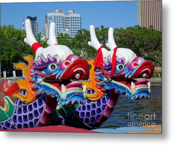 Traditional Dragon Boats In Taiwan Metal Print