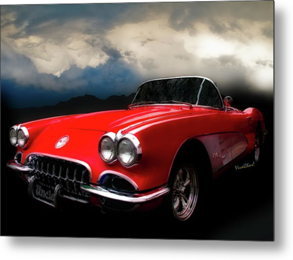 60 Corvette Roadster In Red Metal Print
