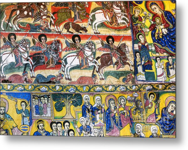 Ancient Orthodox Church Interior Painted Walls In Gondar Ethiopi Metal Print