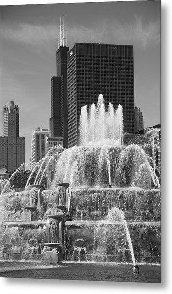Chicago Skyline And Buckingham Fountain Metal Print
