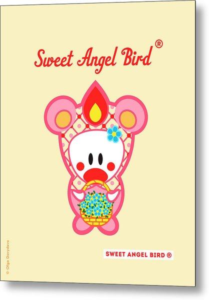 Cute Art - Sweet Angel Bird In A Pink Bear Costume Holding A Basket Of Little Blue Flowers Wall Art Print Metal Print