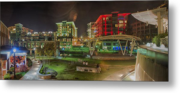 Metal Print featuring the photograph Greenville South Carolina Near Falls Park River Walk At Nigth. by Alex Grichenko