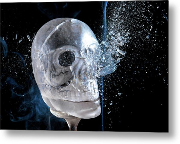 Ice Skullpture Metal Print