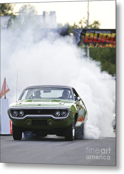 '72 Roadrunner Burn Out Metal Print