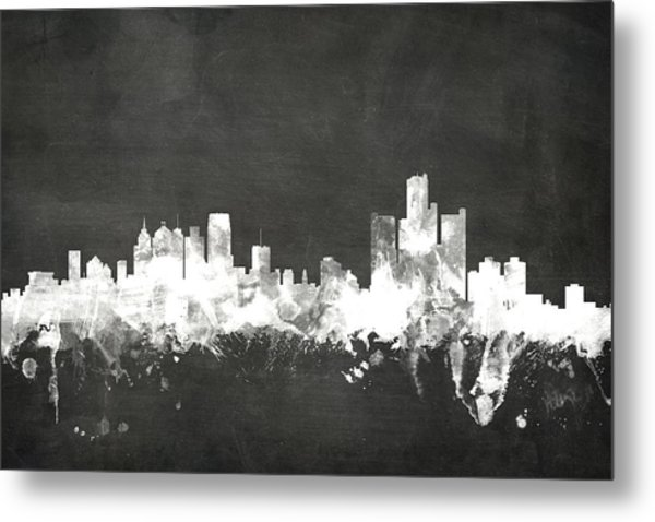 Detroit Michigan Skyline Metal Print