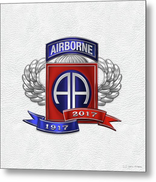 82nd Airborne Division 100th Anniversary Insignia Over White Leather Metal Print