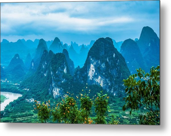 Karst Mountains Landscape Metal Print