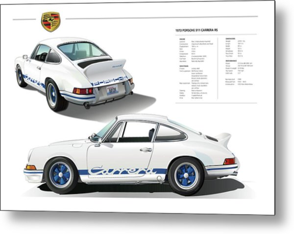 911 Carrera Rs In Blue Metal Print
