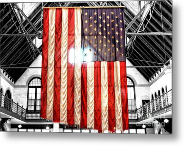 911 Ground Zero Flag Metal Print