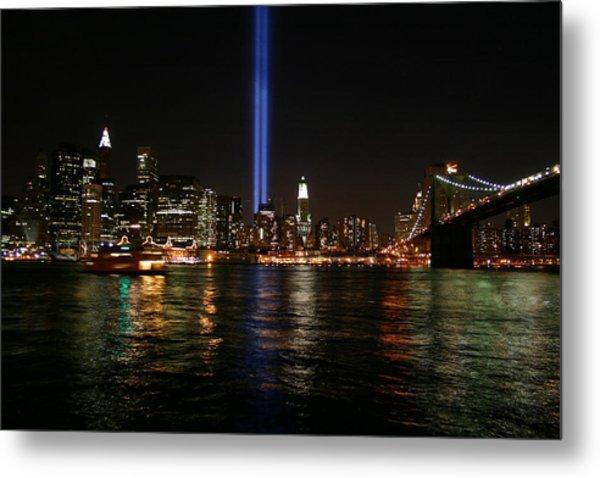 911 Memorial Lighting Metal Print by Dennis Curry