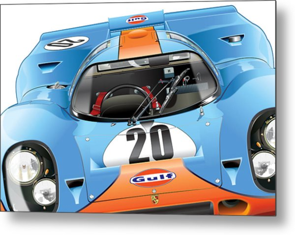 Porsche 917 Illustration Metal Print