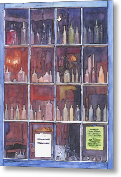 95   French Quarter Window With Bottles Metal Print by John Boles