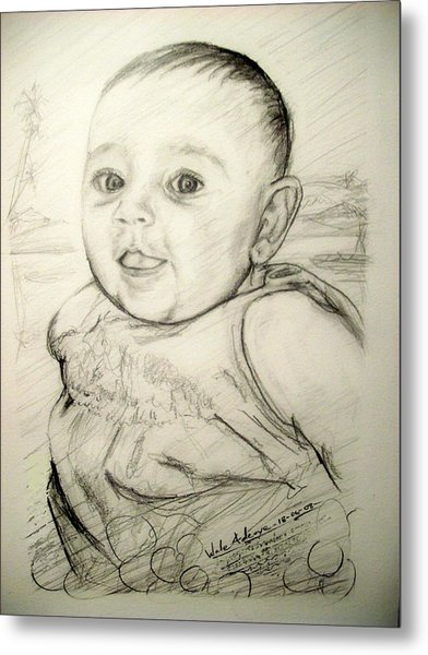 A Baby Smile Metal Print by Wale Adeoye