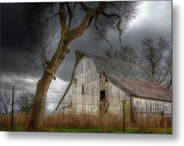 A Barn In The Storm 2 Metal Print
