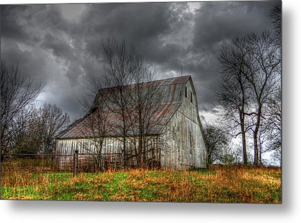 A Barn In The Storm 3 Metal Print