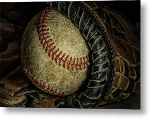 A Baseball Still Life Metal Print