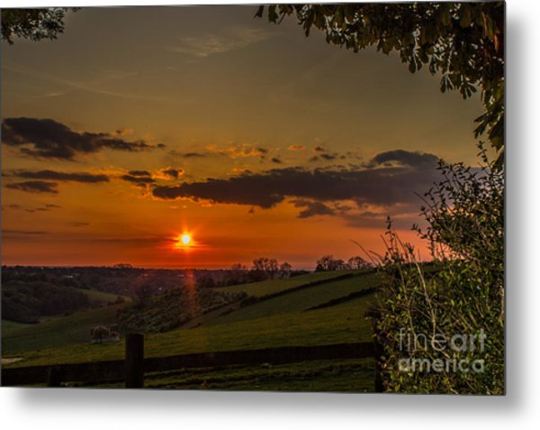 A Beautiful Sunset Over The Surrey Hills Metal Print