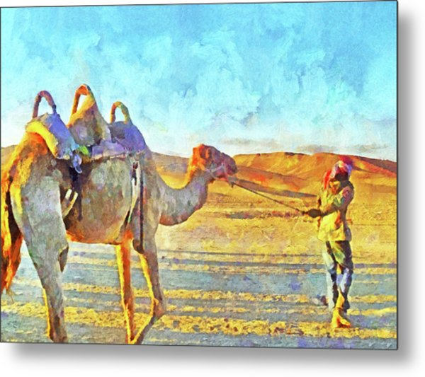 A Bedouin And His Camel Metal Print