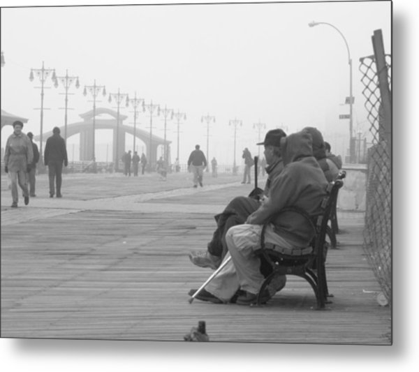 A Bench At Coney Island Metal Print by Peter Aiello