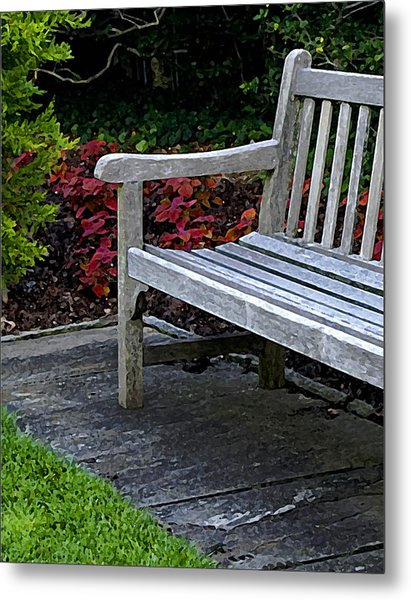 A Bench In The Garden Metal Print