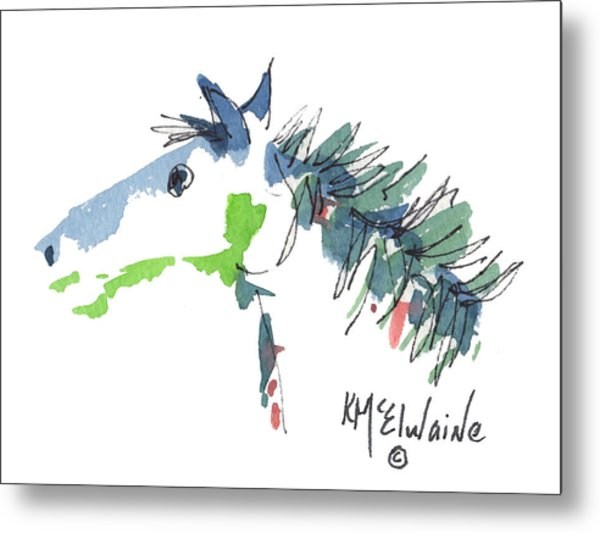 A Blue Roan Horse Watercolor Painting By Kmcelwaine Metal Print