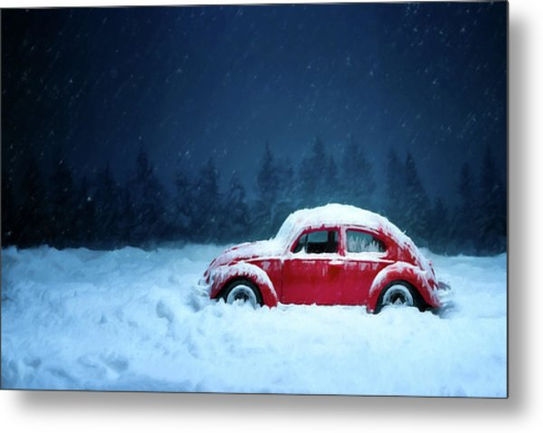 A Bug In The Snow Metal Print