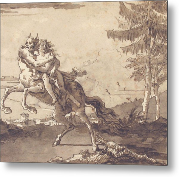 A Centaur Abducting A Nymph Metal Print