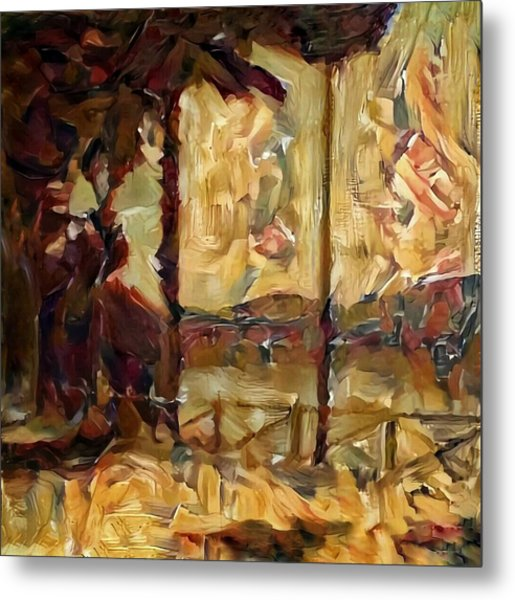 A Chance In The World Movie Golden Glowing Master Museum Artwork In Green Brown Yellow Gold With Fence Trees And Mountain Plantation Lake In Warm Earth Colors Metal Print by MendyZ