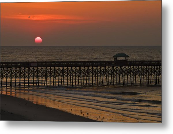 A Charleston Sunrise On The Pier Metal Print by Michael Whitaker