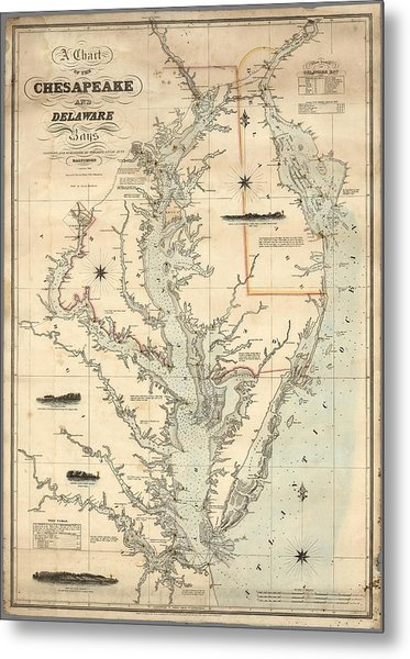 A Chart Of The Chesapeake And Delaware Bays 1862 Metal Print