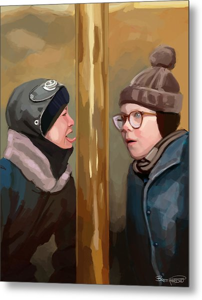 A Christmas Story Tongue Stuck To Pole Metal Print