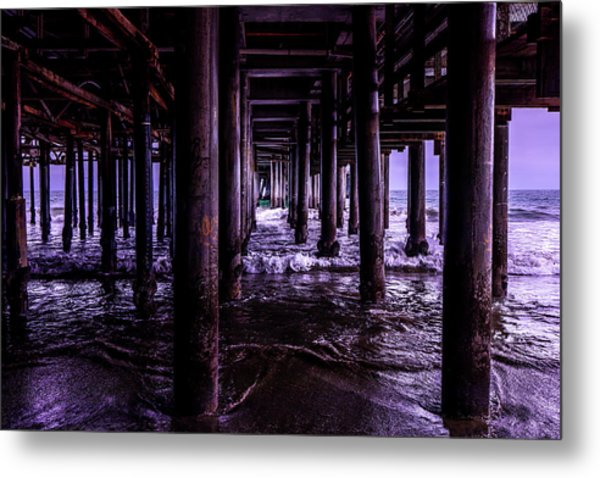 A Cloudy Day Under The Pier Metal Print