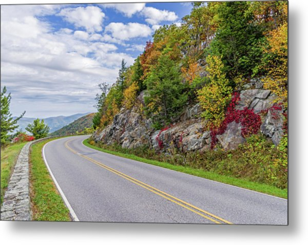Metal Print featuring the photograph A Colorful Curve On Skyline Drive by Lori Coleman