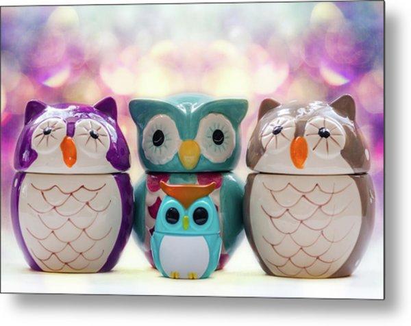 A Colourful Parliament Of Owls Metal Print