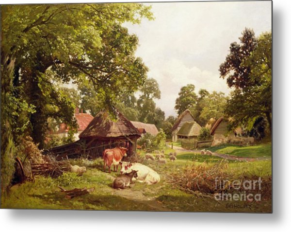 A Cottage Home In Surrey Metal Print