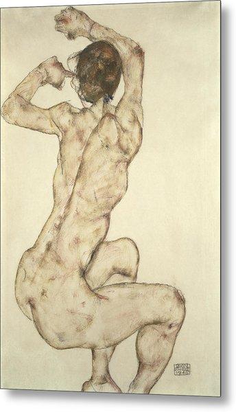 A Crouching Nude Metal Print